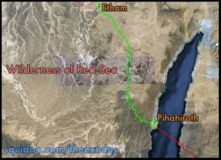 Exodus Map Etham to Pihahiroth Nuweiba Aqaba Red Sea